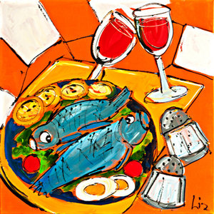 Fish and Wine- 60 x 60 cm