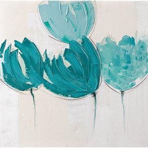 Turquoise Flowers - 60 x 60