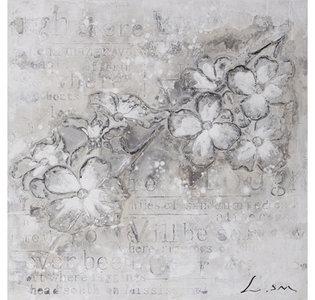 Flowers in Grey - 60 x 60