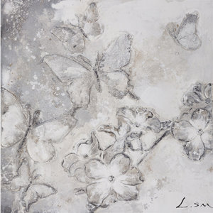 Butterfly's in Grey II - 60 x 60