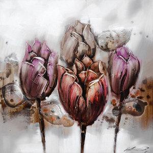Purple Tulips - 100 x 100 cm